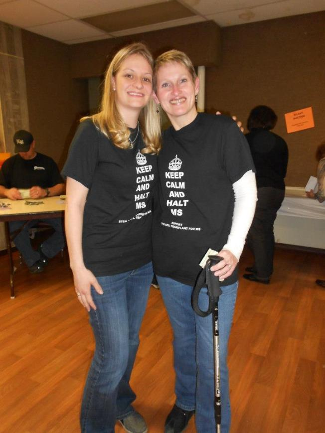 It's Sissy, Me and Tiff (my trekking pole) hanging out at the benefit!