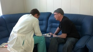 Dr. Fedorenko consulting with Jeff about certain antibiotics, etc., that he will be taking for the next few weeks.