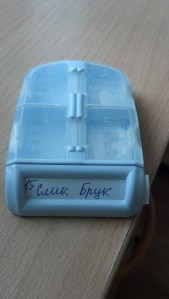 "My pillbox.  The sections are labeled ""Morning"", ""Midday"", ""Evening"" and ""Night"" in English & Russian."
