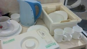 "This is the dishwashing station, where the dishes must be soaked in a treated water for 15 minutes.  My ""diamond water"". :)"