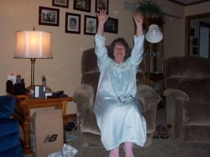 Karen Frederick doing the jammy wave in Woodbury, Pa