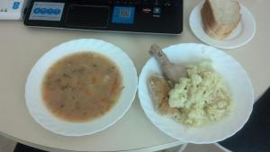 12:00 noon - Lunch Vegetable soup, a boiled piece of chicken, tons of cauliflower and a chicken croquette...with bread.