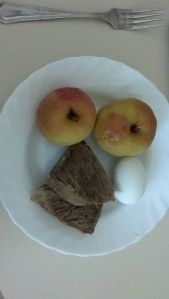 12:00 noon-Snack Two boiled apples, two pieces of tongue, one hard-boiled egg.