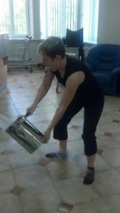 Me throwing my ceremonial bucket of left over stem cells.  It's a tradition!