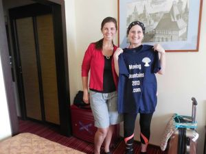 Me, Kristy and one of her Moving Mountains t-shirts.