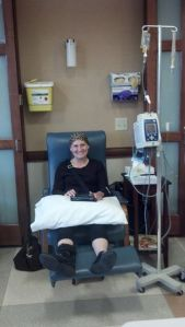 Me and my Kindle during chemo.